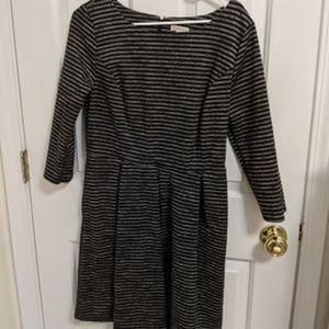 Black/Grey Stripe Pleated Dress w/ POCKETS!